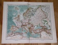 1908 ORIGINAL ANTIQUE MAP OF EUROPE RUSSIA GERMANY POLAND ITALY TURKEY HUNGARY