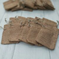 5-15 SMALL LIGHT BROWN HESSIAN GIFT BAGS 7x9cm. Jute, jewellery, wedding favours