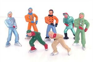 7pc Vtg Barclay Lead Metal Figure Ice Skaters