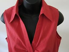 Sz 10 Ann Taylor Loft Red Sleeveless Gathered Textured Stripe Shirt Blouse NWT