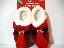 SANTA SLIPPERS w/BUCKLE & SLEIGH BELLS. ADLT 1 SIZE FITS MOST. VERY COMFORTABLE.