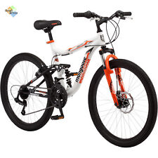 "24"" Mongoose Boys Trail Blazer Mountain Bike Full Suspension 21 Speed Bicycle"