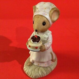 Country Calico Mice Figurine Enesco Days of the Week Saturday 1982 Porcelain