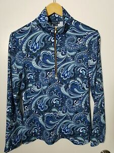 1 NWT MELLY M WOMEN'S PULLOVER, SIZE: LARGE, COLOR: BLUE PAISLEY (J115)