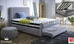 Chesterfield Ottoman Storage Bed Frame Plush Velvet Gas Lift, 4FT Small Double