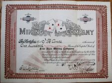 'Four Aces Mining Co.,' Bullfrog, Nevada NV 1905 Stock Certificate-Playing Cards