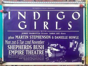 "1992 Indigo Girls Shepherds Bush Empire Theatre UK, NOV 21,22~RARE~LARGE~30x40"""
