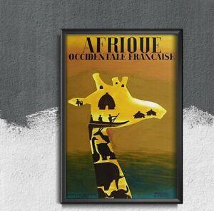 Afrique Poster Travel Vintage Poster, Art Print, Travel Wall Art, World Travel