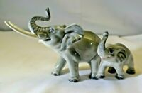 """Vtg. Goebel Elephant Mother with Baby Trunk Up 4"""" Figurine W. Germany Mint  MT"""