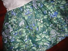 "LAURA ASHLEY BRAMBLE GREEN FLORAL BERRIES QUEEN BEDSKIRT 14"" FLORAL SPLIT"