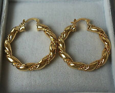 9ct Gold Plated Rope Twist Creole Hoop Earrings 38mm x 5mm.
