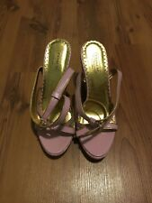 Coach Kathleen Signature C Pink Wedge Sandals Size 9.5 Made In Italy