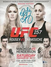 RONDA ROUSEY SIGNED AUTO'D UFC 157 MINI POSTER BAS COA CHAMPION ROWDY WWE RAW