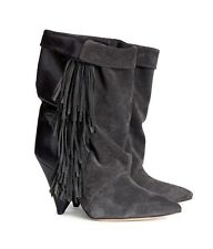 BNWT ISABEL MARANT For H&M Grey Leather Suede Fringes Fringed Heels Boots EUR 38
