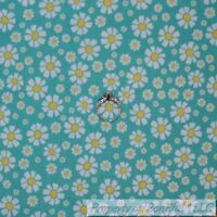 BonEful FABRIC FQ Cotton Quilt Aqua Blue Yellow White Small Daisy Flower Girl US