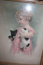 "Vtg original Bessie Pease Gutmann FRIENDLY ENEMIES print framed 12 x 15"""