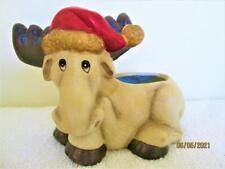 Vintage 1993 Creation House Ceramic Christmas Moose Planter