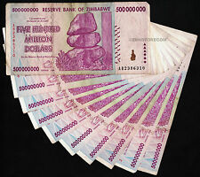 10 x 500 Million Zimbabwe Dollars Bank Notes AB 2008 Currency ~*Pre 100 Trillion