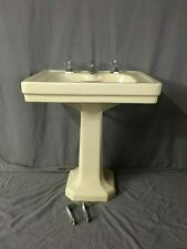 Antique Ceramic Butter Cream Yellow Porcelain Pedestal Sink Standard Vtg 429-19E