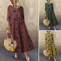 Womens Casual Loose 3/4 Sleeve Long Dress Vintage Polka Dot Kaftan Maxi Dresses