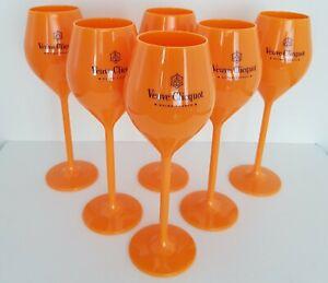 6x Veuve Clicquot Acrylic Plastic Champagne Orange Flutes Glasses140ml 20cm