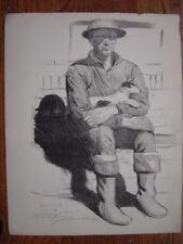 Lithographie Litho signée dédicacée Lucien JONAS Soldat américain ou anglais WW1
