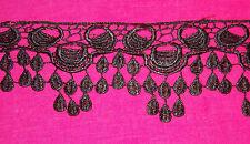 1m black peacock venise embroidered lace bridal wedding dress gothic trim