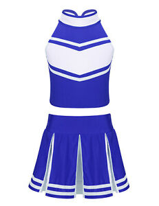 Kids Cheerleading Set Girls Crop Top Skirt Outfits School Fancy Cosplay Uniform