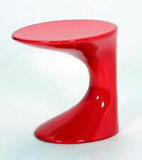 Lamp Side End Table Display Stand Round Top Fibre Glass Gloss Red