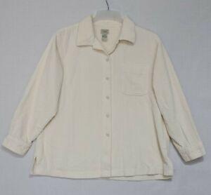 Vtg L.L Bean Women's Corduroy Button Front Shirt Sz Large Petite LP Cream (B1)