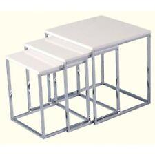 Contemporary White Seconique Charisma High Gloss Square Nest of Tables
