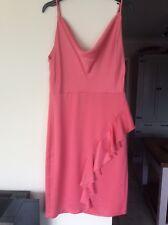 MISS SELFRIDGE  PINK SATIN FRLL DRESS SIZE 12