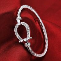 925 Sterling Silver Filled Horse Shoe Bangle water drop Bracelet fashion gift