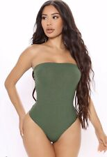 NEW TAGS! Fashion Nova Hailey Sexy Ribbed Tube Sage Green Bodysuit SMALL
