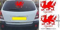 PAIR of CYMRU WELSH DRAGON Sticker Decal For Car - Van - Motorhome - Walls (WD1)