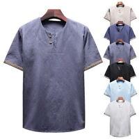 Mode Homme Casual V-cou T-shirt en Lin à Manches courtes Tee Ouverture Boutonnée