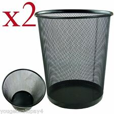 2 x Lightweight and Sturdy Circular Mesh Waste Bin (Black or silver)
