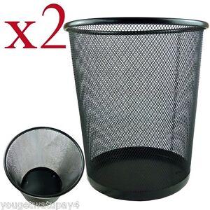 2 x Lightweight and Sturdy Circular Mesh Waste Bin (Black or silver)