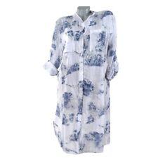BaumwolleTunika Hemd Kleid Bluse Weiß Beschrifted  42 44 46 48 L XL