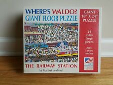 """1991 Where's Waldo? RAILWAY 24 pieces made by Great American Puzzle 18"""" x 24"""""""