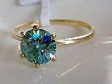 GENUINE MOISSANITE DIAMOND BLUE 10K 10CT WHITE GOLD SOLID RING SIZE 6.5, 8