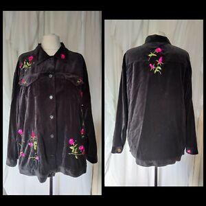 The Quacker Factory black velvet jacket 1XL  embroidered roses rhinestones...