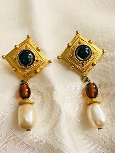 Vintage Signed Xeja Satin Gold Tone Faux Stone Square w/ Dangle Pierced Earrings