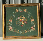 Antique Needlepoint Tapestry Framed Panel Chair Seat Cover Cross Stitch Fruit