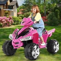 12V Electric Kids Ride On Car 2 Speeds ATV Quad Treaded Tires LED Lights Pink