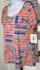 LuLaRoe Classic T Scoop Neck Tunic Top Size S Pink Orange Geometric NWT