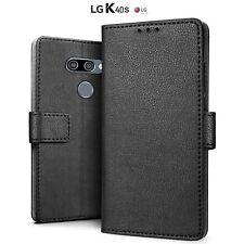 COVER per LG K40S CUSTODIA Portafoglio Pelle Nero Slim Case + VETRO TEMPERATO 9H