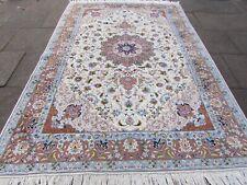 Fine Vintage Traditional Hand Made Rug Wool Silk White Blue Rug Carpet 300x202cm