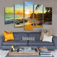 Ocean Sunset Beach Seascape 5 Pieces Canvas Wall Art Poster Print Home Decor