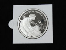 China 10 Yuan 1990 Beethoven Silber Polierte Platte